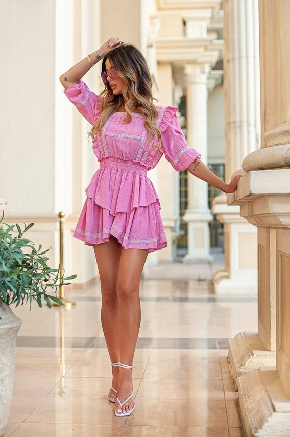 BARBIE LOOK - PINK DRESS WITH A WASHED EFFECT