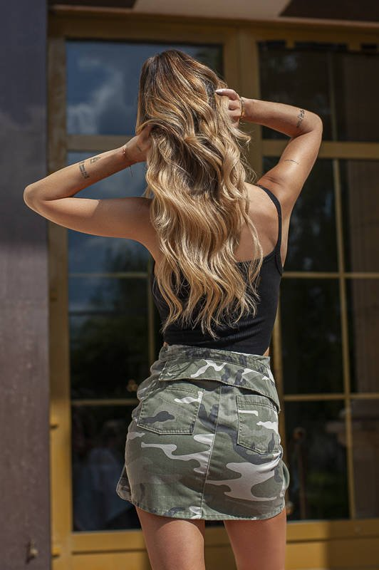 GIRLY - DENIM SKIRT WITH SLEEVES IN SHADES OF GREEN AND BEIGE