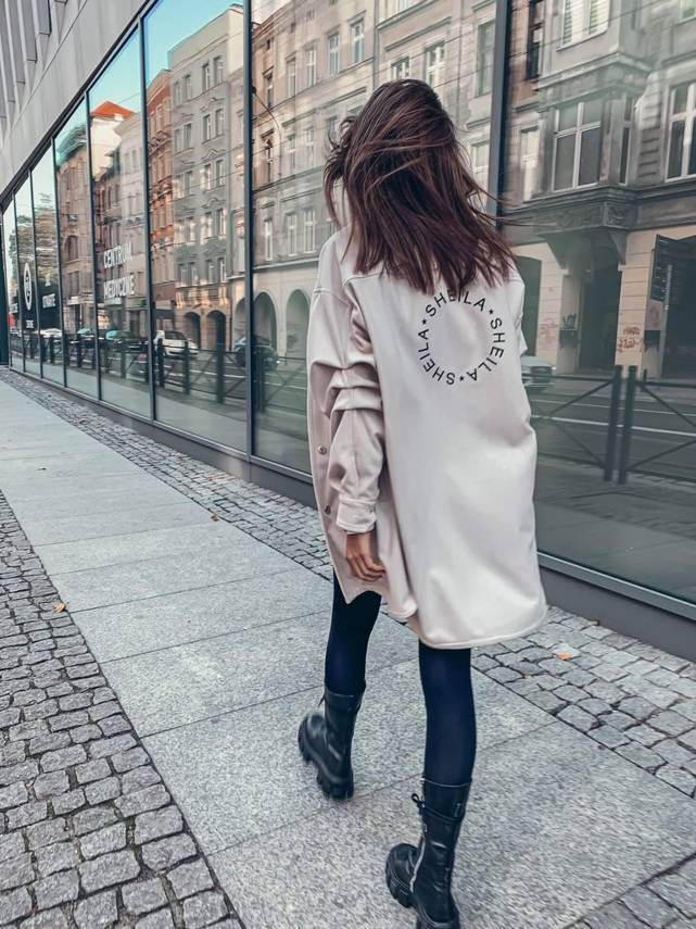 HERRINGBONE OVERSIZE SHIRT WITH EMBROIDERY | SHEILA AW20