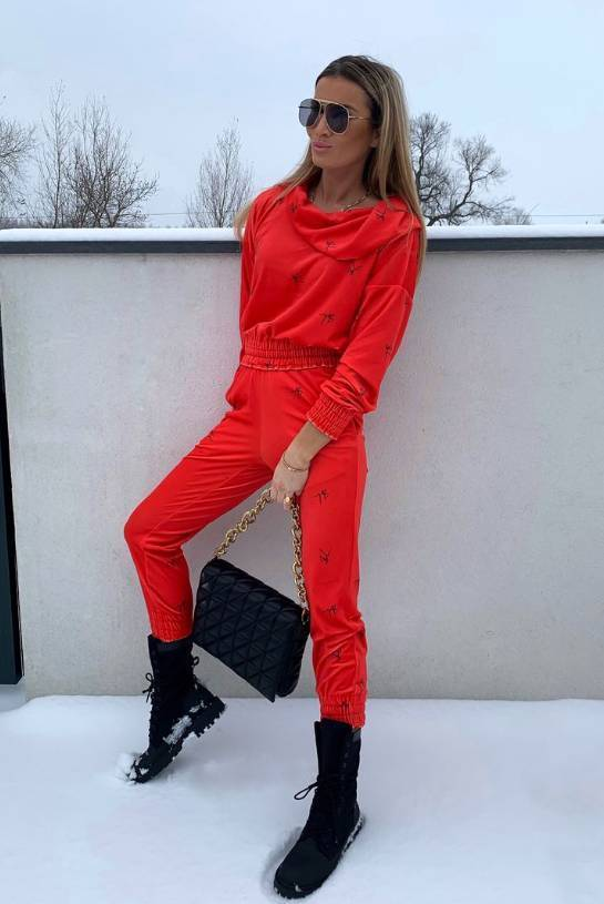 RED SHEILA SWEAT SUIT WITH MINI HOOD AND BLACK LOGO   SHEILA AW20