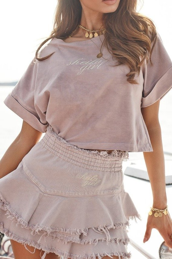 SHORT TSHIRT POWDER PINK WITH GOLD EMBROIDERY SHEILA GIRL | SHEILA SS20