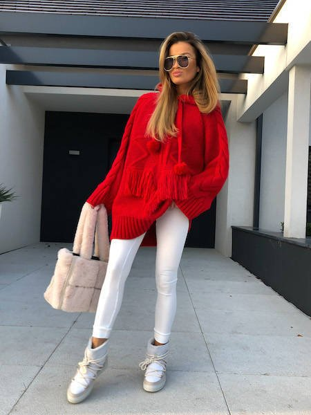 SWEATER WITH A STAR AND FRINGE RED SH | SHEILA AW20